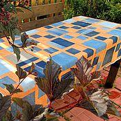 Для дома и интерьера ручной работы. Ярмарка Мастеров - ручная работа Джинсовое покрывало с оранжевым, односпальное. Handmade.