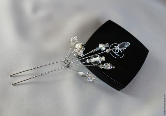 Шпилька для волос `Серебро 01` 13 см на 6 см