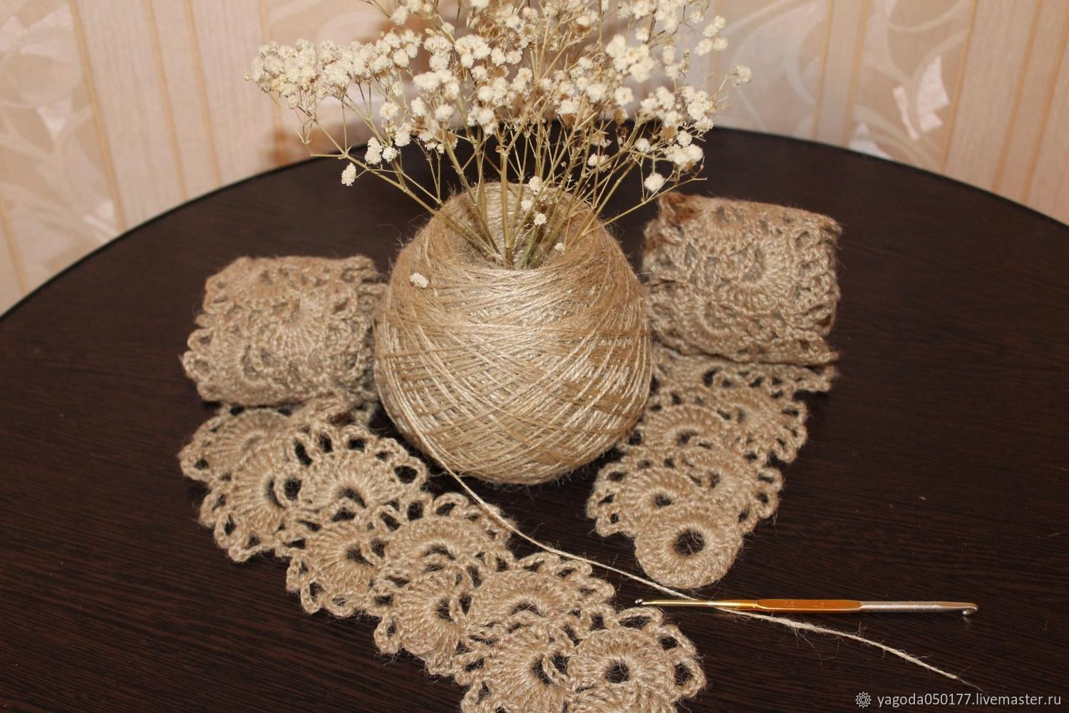 Tape lace is made of jute .crochet, Lace, Kaluga,  Фото №1