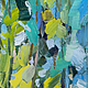 Анна Крюкова Картина импрессионизм Голубой зеленый синий темно-зеленый Картина маслом пейзаж лето Лес деревья масло