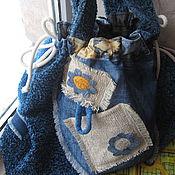 """Сумки и аксессуары ручной работы. Ярмарка Мастеров - ручная работа """"Ромбики 3""""  синяя текстильная сумка. Handmade."""