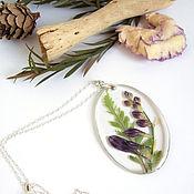 Украшения handmade. Livemaster - original item Transparent Purple Wild Flower Pendant Botany Eco-Friendly Decoration. Handmade.