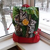 handmade. Livemaster - original item Backpack leather with painting to order for the girl Michael). Handmade.