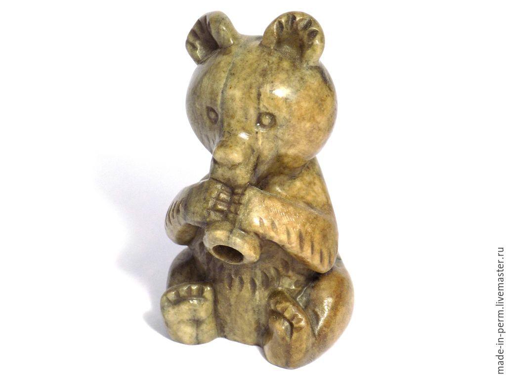 Медвежонок с дудочкой - фигурка из камня Кальцит, Статуэтки, Орда,  Фото №1