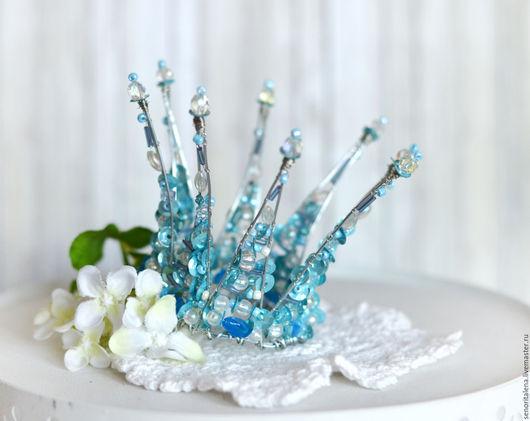 """Диадемы, обручи ручной работы. Ярмарка Мастеров - ручная работа. Купить Корона """"Сказка"""". Handmade. Голубой, корона для принцессы"""