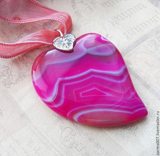 """Кулоны, подвески ручной работы. Ярмарка Мастеров - ручная работа. Купить """"Сердце"""" подвеска кулон агат оникс. Handmade. Кулон"""