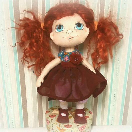 Коллекционные куклы ручной работы. Ярмарка Мастеров - ручная работа. Купить Кукла текстильная. Handmade. Бордовый, подарок, милота, бязь