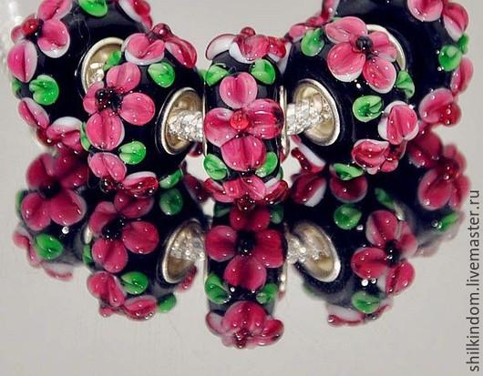 """Для украшений ручной работы. Ярмарка Мастеров - ручная работа. Купить Шарм """"Поздние цветы"""" с серебром 925 пробы. Handmade."""