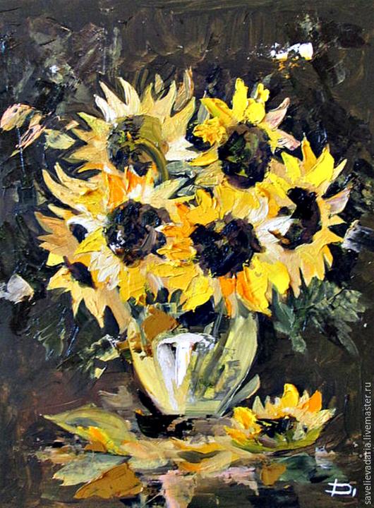 Картины цветов ручной работы. Ярмарка Мастеров - ручная работа. Купить Солнечные цветы. Handmade. Разноцветный, натюрморт