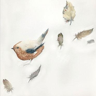 """Картины и панно ручной работы. Ярмарка Мастеров - ручная работа """"Нежность в мелочах"""" картина акварелью (птицы, бежевый). Handmade."""