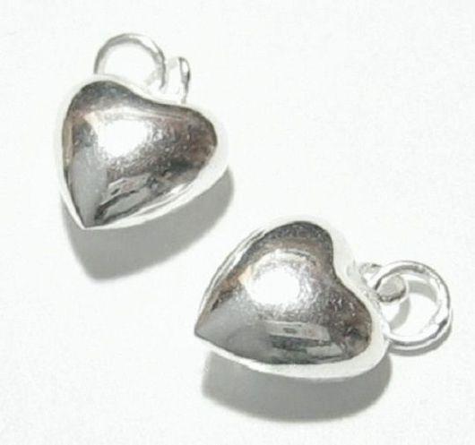 Для украшений ручной работы. Ярмарка Мастеров - ручная работа. Купить Подвеска серебряная сердце, подвеска шарм серебро 925 пробы. Handmade.