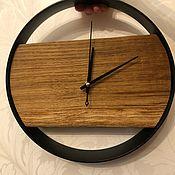 Часы классические ручной работы. Ярмарка Мастеров - ручная работа Часы в стиле лофт из массива дуба в металлическом ободе. Handmade.