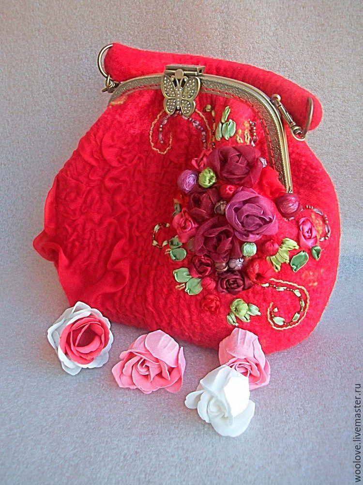 felted handbag 'garden of flowers', Classic Bag, Bryansk,  Фото №1
