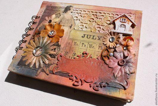 Блокноты ручной работы. Ярмарка Мастеров - ручная работа. Купить Винтажный блокнот коралловый. Handmade. Коралловый, цветы, для записей