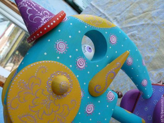 Статуэтки ручной работы. Ярмарка Мастеров - ручная работа. Купить Бирюзовый слон. Handmade. Разноцветный, роспись, цирк, акриловый контур