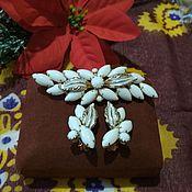 Винтаж handmade. Livemaster - original item Brooch and clip earrings. Handmade.