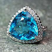 """Украшения ручной работы. Ярмарка Мастеров - ручная работа """"Heavenly"""" кольцо серебро 925 с голубым топазом с белыми сапфирами. Handmade."""