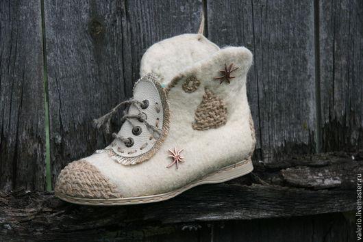 Обувь ручной работы. Ярмарка Мастеров - ручная работа. Купить Звездочет. Handmade. Бежевый, обувь, шерсть