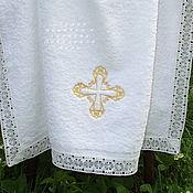 Работы для детей, handmade. Livemaster - original item Towel for baptism 140/70 gold cross. Handmade.