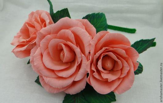 """Диадемы, обручи ручной работы. Ярмарка Мастеров - ручная работа. Купить Ободок """"Персия"""". Handmade. Кремовый, персиковые розы, фоамиран"""