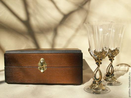 """Бокалы, стаканы ручной работы. Ярмарка Мастеров - ручная работа. Купить бокал винный """"Чёрная смородина"""". Handmade. Оранжевый, стекло"""