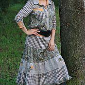 Одежда ручной работы. Ярмарка Мастеров - ручная работа Платье-рубашка авторское, клетка, лен, хлопок, стиль БОХО, кантри. Handmade.