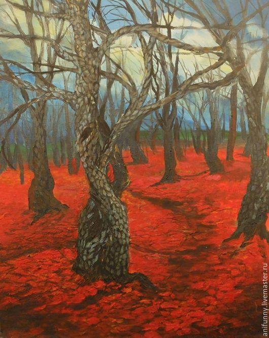 Пейзаж ручной работы. Ярмарка Мастеров - ручная работа. Купить Лес одел красное. Handmade. Бордовый, осень, лес
