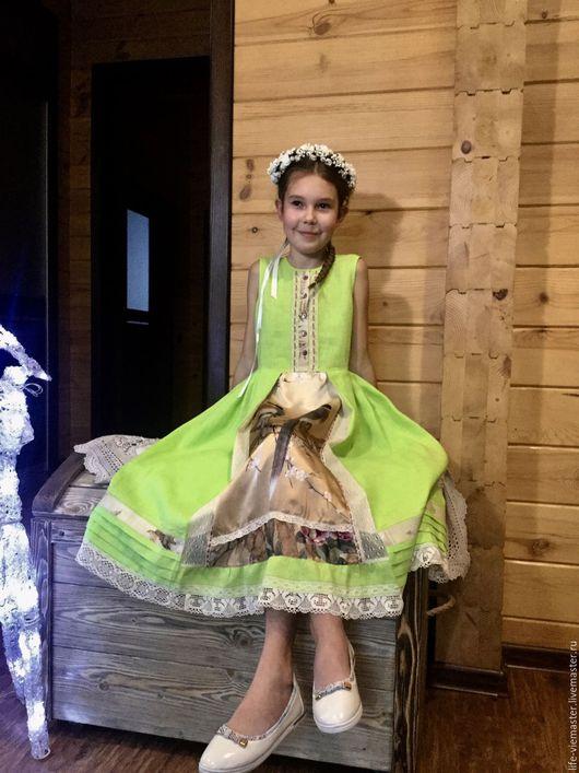 """Платья ручной работы. Ярмарка Мастеров - ручная работа. Купить детское платье""""Птицы певчие"""". Handmade. Ярко-зелёный, бохо стиль"""