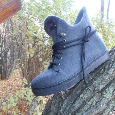 Footwear handmade. Livemaster - original item Shoes: Sneakers Stylish felted graphite 1.. Handmade.