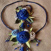 """Украшения ручной работы. Ярмарка Мастеров - ручная работа Комплект из кожи"""" Синие розы"""". Handmade."""