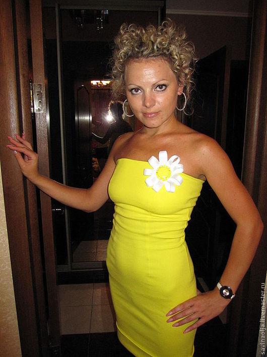 """Платья ручной работы. Ярмарка Мастеров - ручная работа. Купить Жёлтое платье """"Ромашка"""". Handmade. Желтый, платье без плеч"""