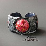 Украшения ручной работы. Ярмарка Мастеров - ручная работа Украшения браслет Винтажный полимерная глина красный серый. Handmade.