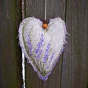 handmade. Livemaster - original item Lavender Linen fragrant heart with painting and embroidery. Handmade.