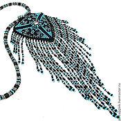 """Украшения ручной работы. Ярмарка Мастеров - ручная работа Колье-кулон """"Серый-Черный-Голубой"""". Handmade."""