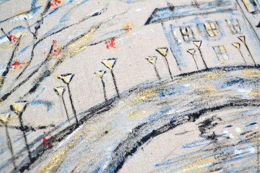 `Фонари старого города` декоративное панно, картина, холст, батик
