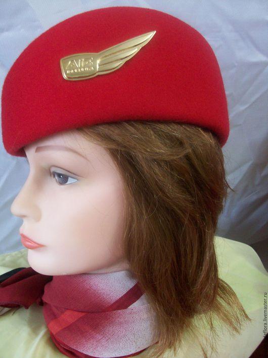 Шляпы ручной работы. Ярмарка Мастеров - ручная работа. Купить Форменный головной убор  для  стюардесс. Handmade. Ярко-красный