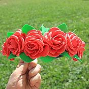 """Украшения ручной работы. Ярмарка Мастеров - ручная работа Ободок """"Страстные розы"""". Handmade."""