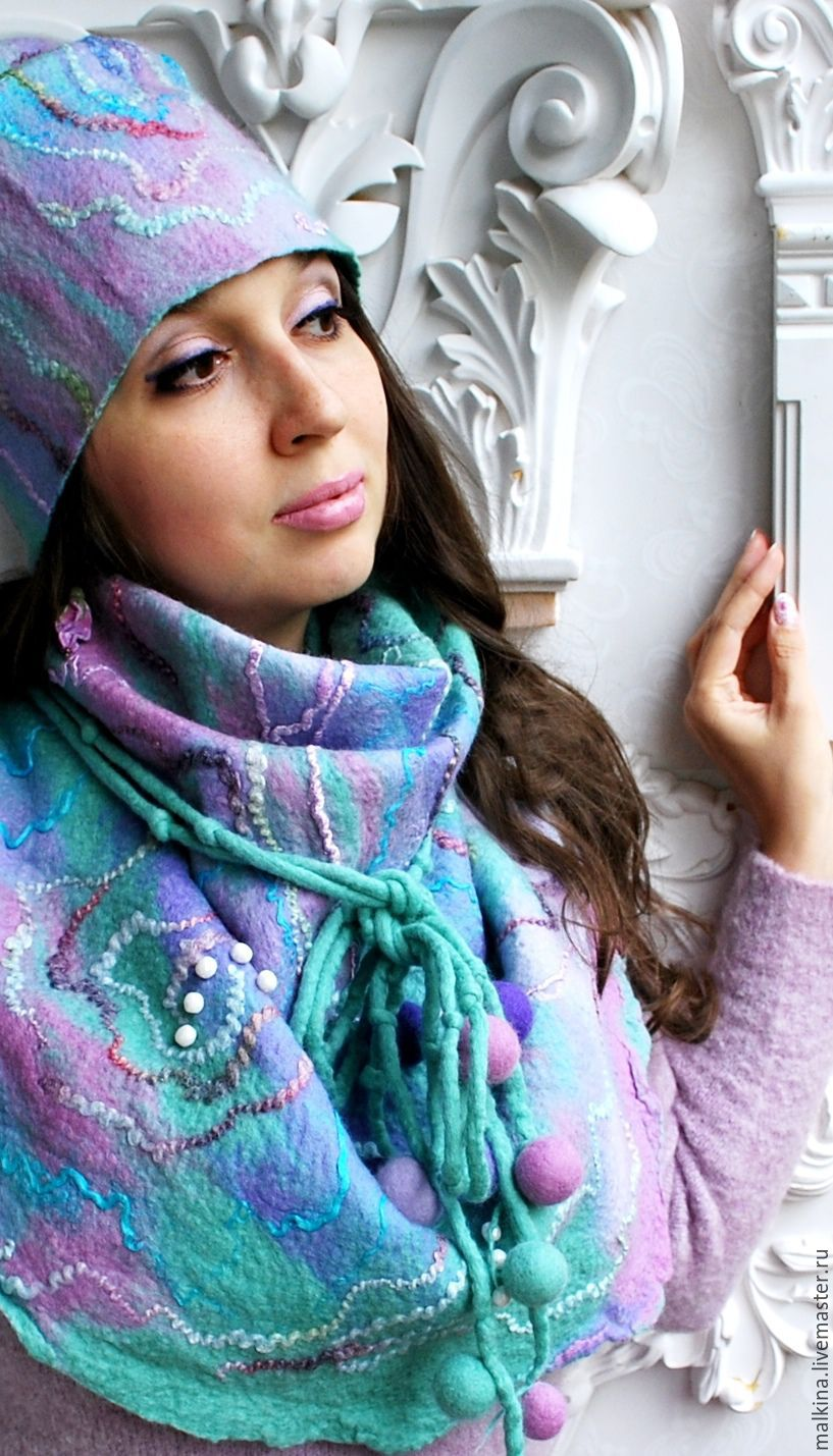 Scarf with hat Purple mint, Scarves, Moscow,  Фото №1
