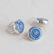 комплект Цветочный серьги+кольцо с керамическими кабошонами