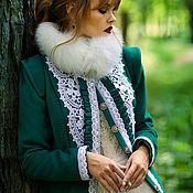 Одежда handmade. Livemaster - original item Designer emerald(green) coat with ice fox collar - Catherine`s emerald. Handmade.
