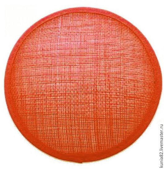 Основа для шляпки, вуалетки, синамей, диаметр 11 см. Цвет: КРАСНЫЙ АПЕЛЬСИН, полуфабрикат для изготовления шляп и головных уборов. Анна Андриенко. Ярмарка