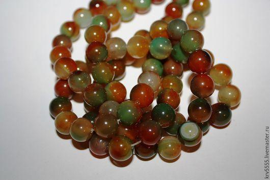 Для украшений ручной работы. Ярмарка Мастеров - ручная работа. Купить Агат оранжево-зеленый, шар 10 мм. Handmade.