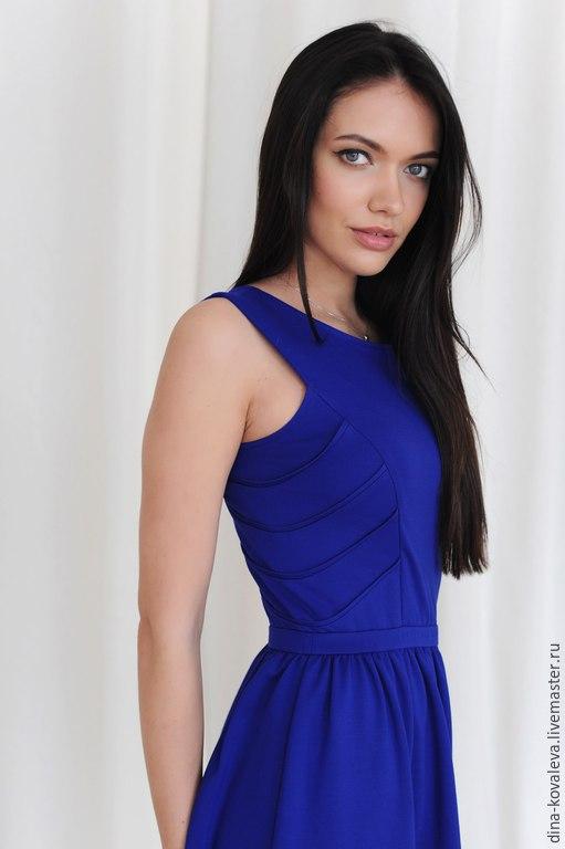 Платья ручной работы. Ярмарка Мастеров - ручная работа. Купить Платье ярко-синее. Handmade. Однотонный, кирпич, жара