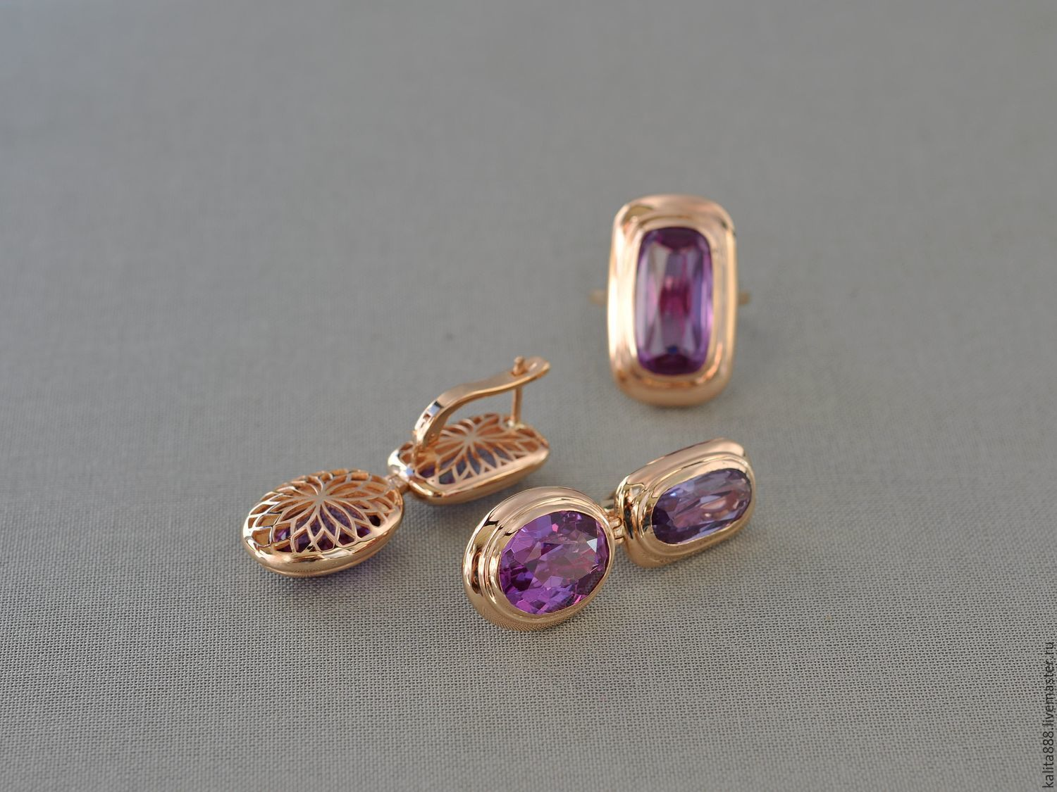 Set of red gold with amethysts, Jewelry Sets, Moscow,  Фото №1
