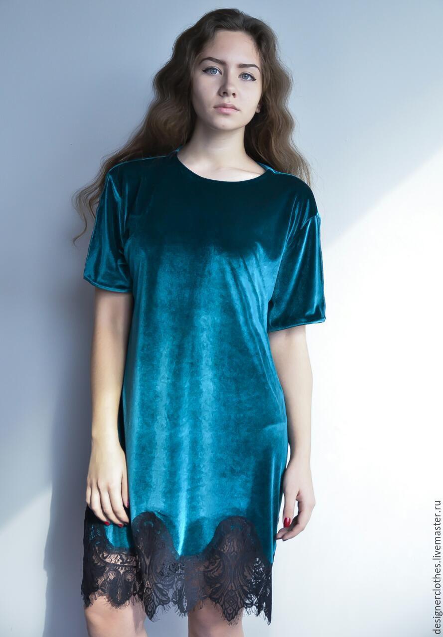 Изумрудное платье с кружевом. Ткань: Микро-бархат на шелковой основе Размеры 40 -42 - 44 - 46