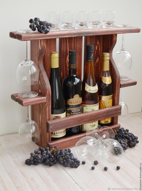 Винная полка деревянная Кьянти на 4 винные бутылки и 4 бокала, Полки, Псков,  Фото №1