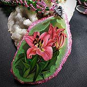 Украшения handmade. Livemaster - original item Jewelry sets pendant with lacquer miniature Lily. Handmade.