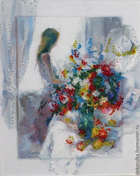 """Натюрморт ручной работы. Ярмарка Мастеров - ручная работа. Купить Картина """"Сновидения"""". Бисер. Handmade. Разноцветный, картина с цветами, окно"""