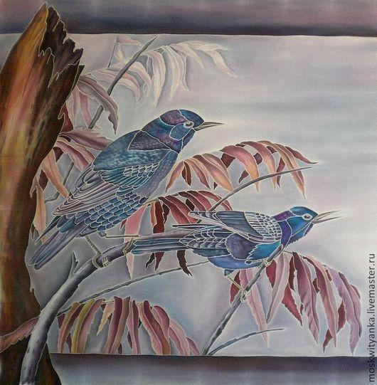 И снова птицы! По мотивам китайской живописи. ПЛАТОК-КАРТИНА!!!