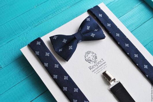 Комплекты аксессуаров ручной работы. Ярмарка Мастеров - ручная работа. Купить Темно-синяя галстук бабочка с узором + Подтяжки темно синие Лорд. Handmade.